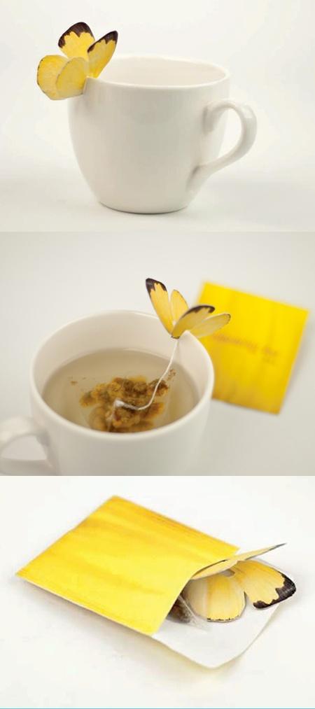 saco de chá em forma de borboleta