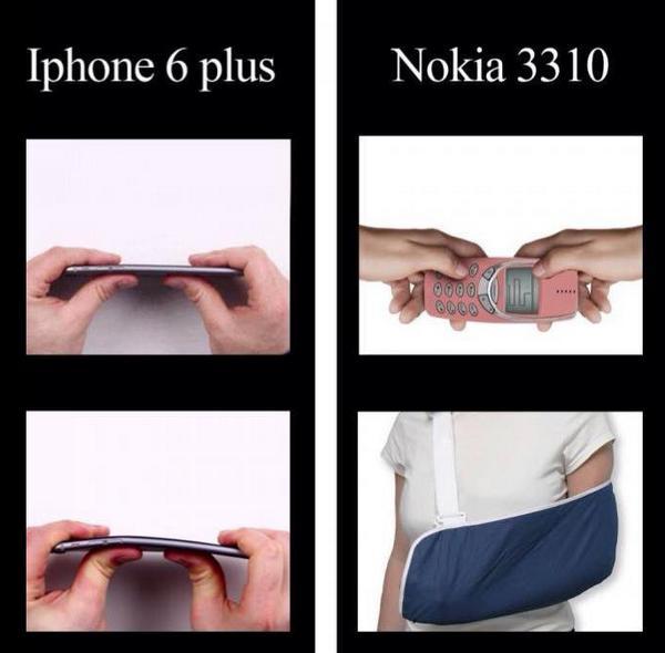 comparação Iphone 6 com Nokia 3310